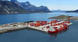 Grafik af containerterminal i Nuuk