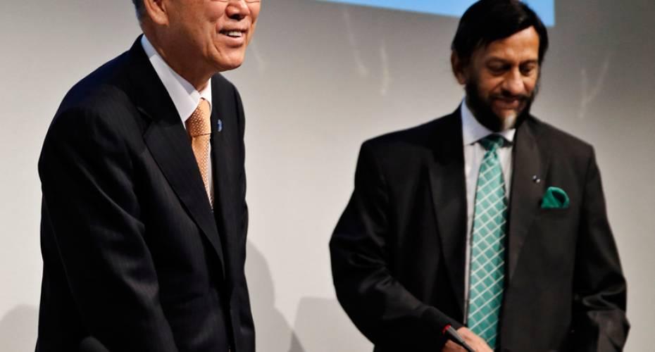 Ban Ki-moon, FN, Rajendra K. Pachauri, IPCC.