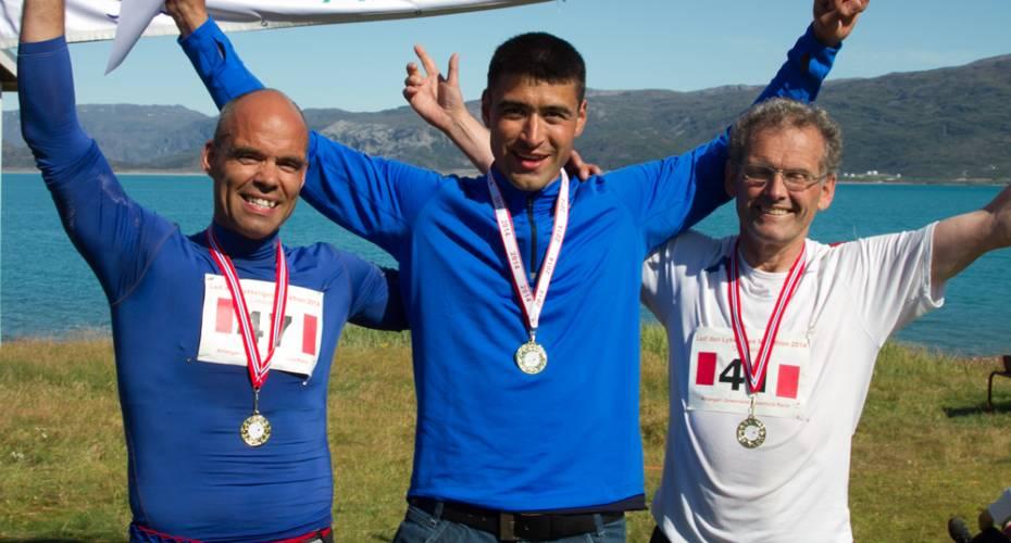 Mads Møller, Arne Simonsen, Vilhel Rasmussen, vindere af Qassiarsuk Marthon 2014