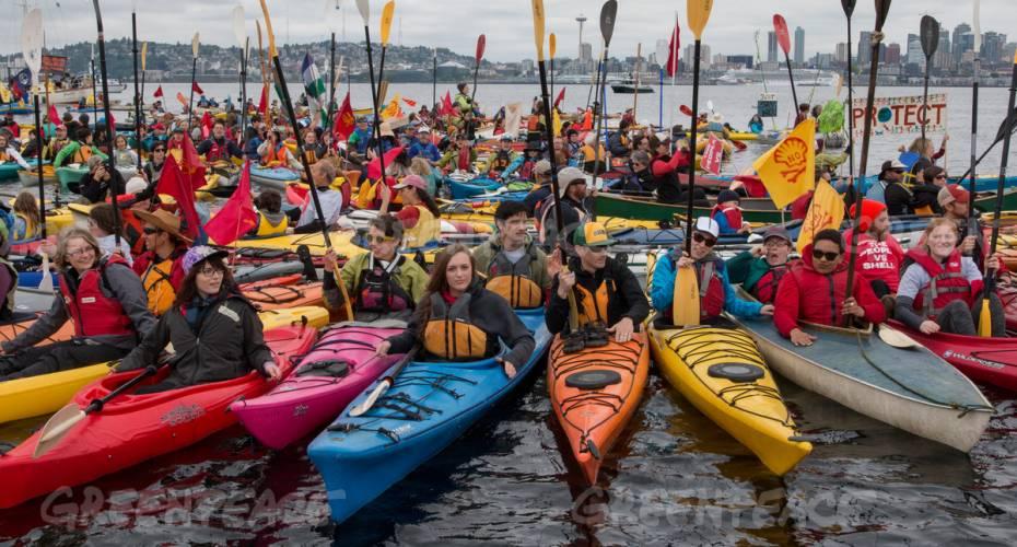 Kajakdemonstration, Seattle, Greenpeace, olieboringer