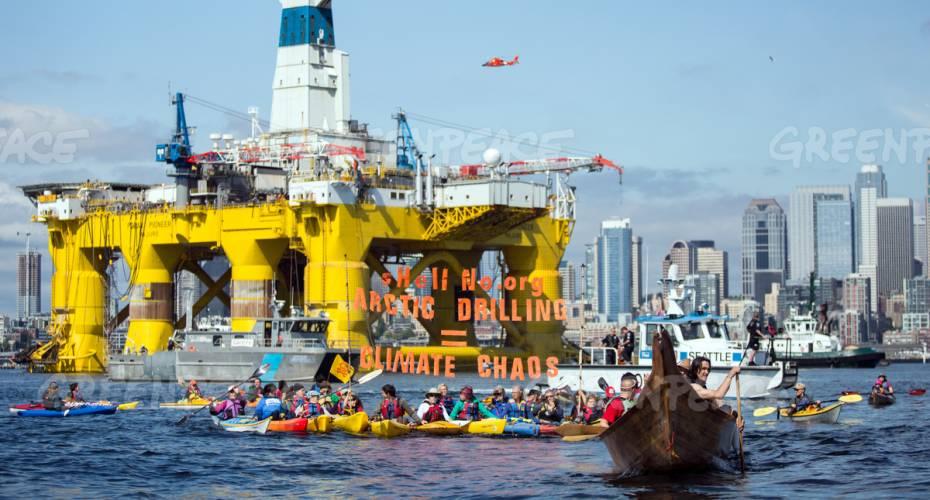 Kajakdemonstration, Seattle, Greenpeace, olieboringer, boreplatform, Polar Pioneer