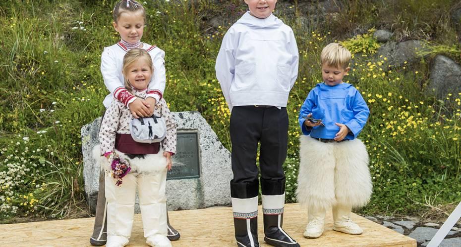 Kronprinsfamilien, Qaqortoq, børnene, christian, Isabella, Vincent og Josephine