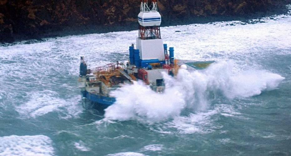 Borerig, Shell, Kulluk, Alaska, på grund