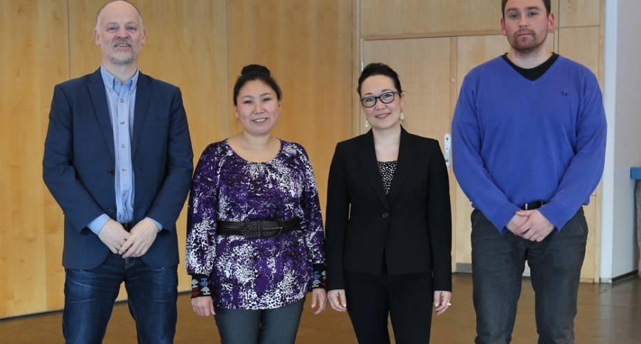 Forsoningskommissionen. Fra venstre: Klaus Georg Hansen, Ida Mathiassen, Aviâja Egede Lynge og Jens Heinrich